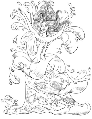 Goddess of the sea Coloring Page