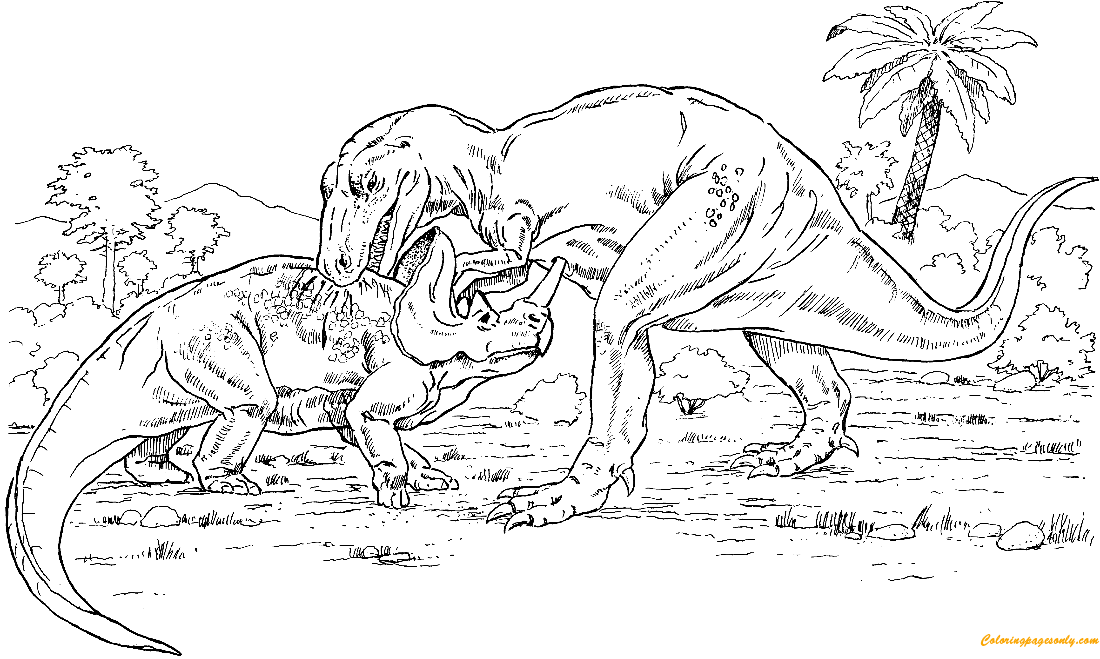 gorgosaurus vs. monoclonius from dinosaurs coloring page