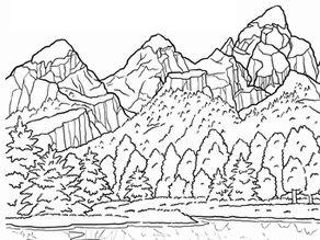 Grand Teton National Park Coloring Page