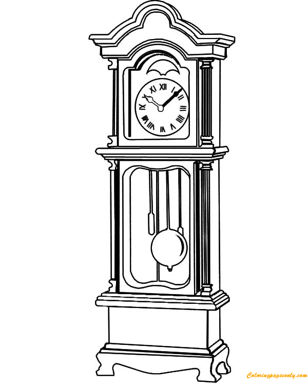 Grandfather Clock Beautiful Fretwork Coloring Page