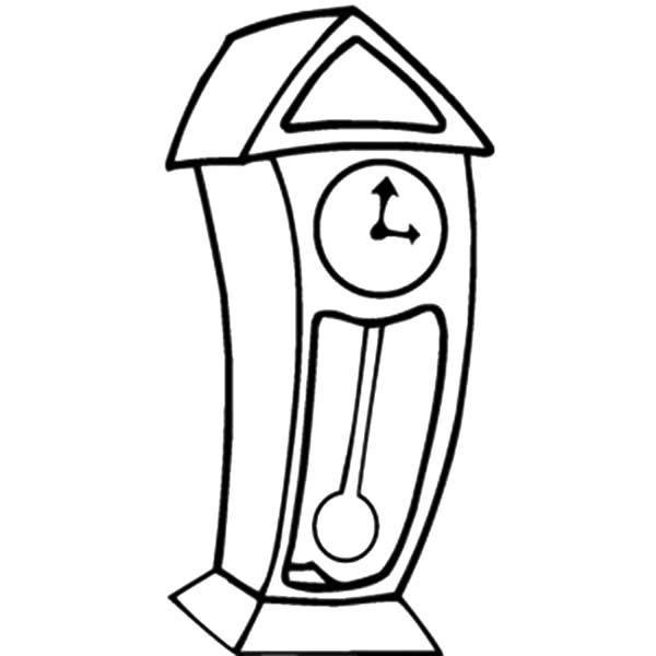 Grandfather Clock Cartoon Coloring Page