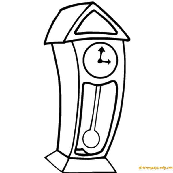 Grandfather Clock Cartoon Coloring Page - Free Coloring Pages Online