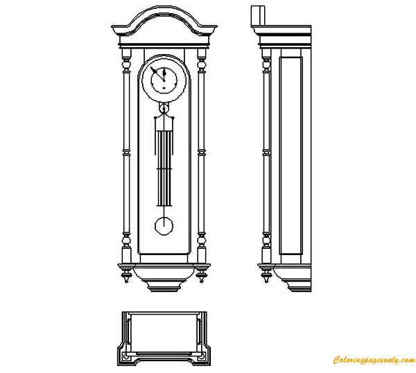 Grandfather Clock Furniture Coloring Page - Free Coloring Pages Online
