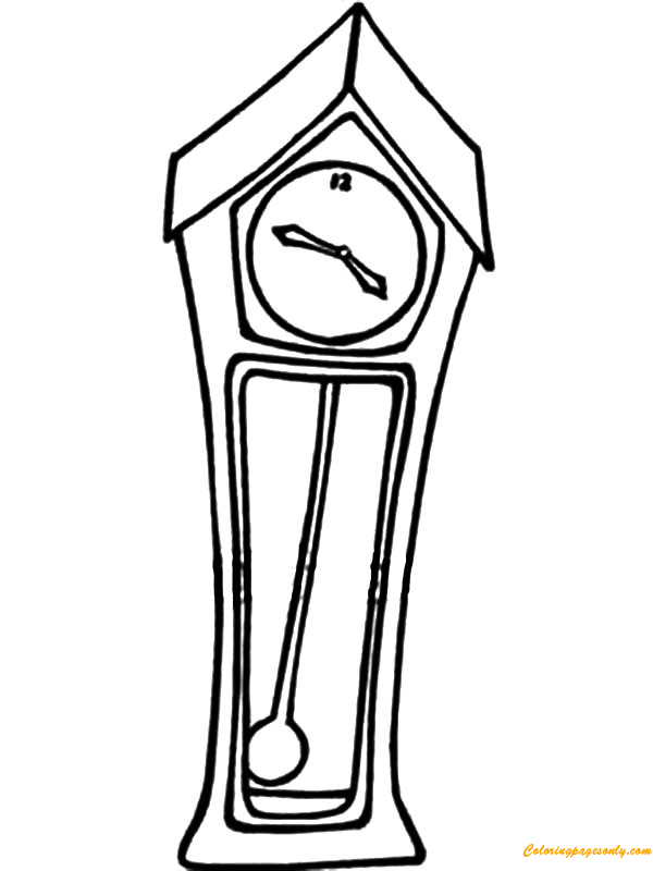 Grandfather Clock With A Swinging Pendulum Coloring Page