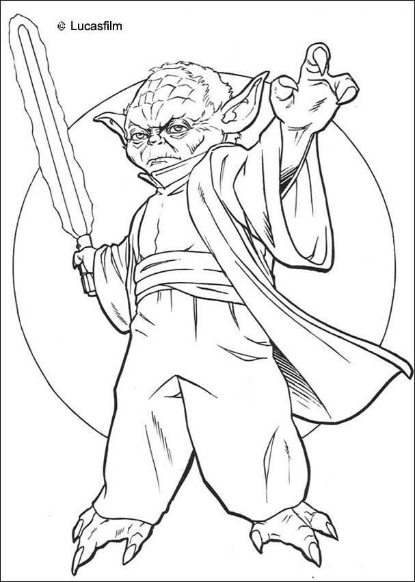 Granpa Yoda gets sword Coloring Page