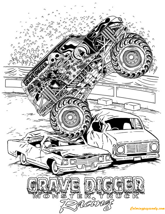 grave digger monster truck racing coloring page