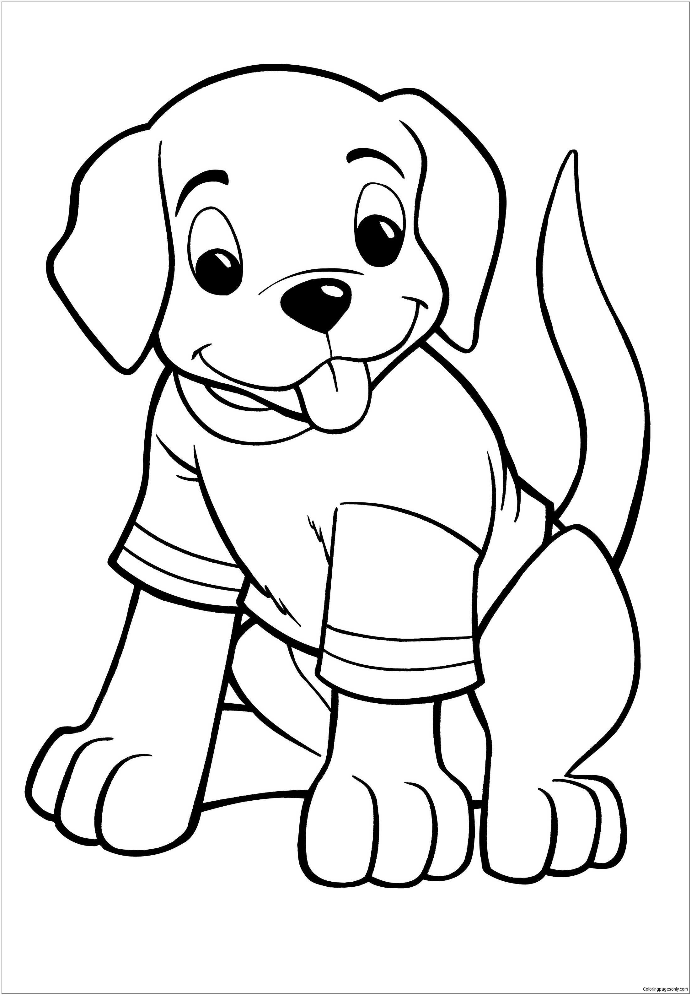 Great Puppy Coloring Page Free
