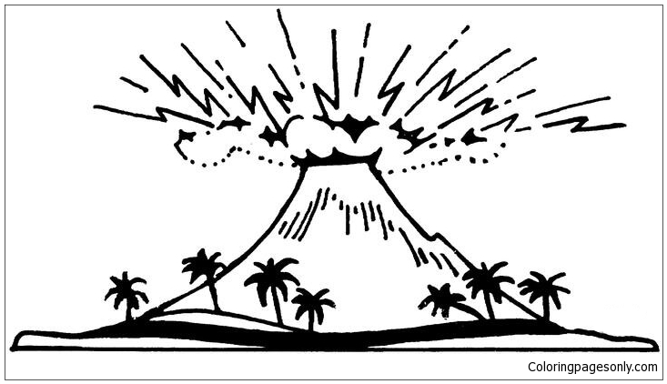 An Active Volcano Coloring Page