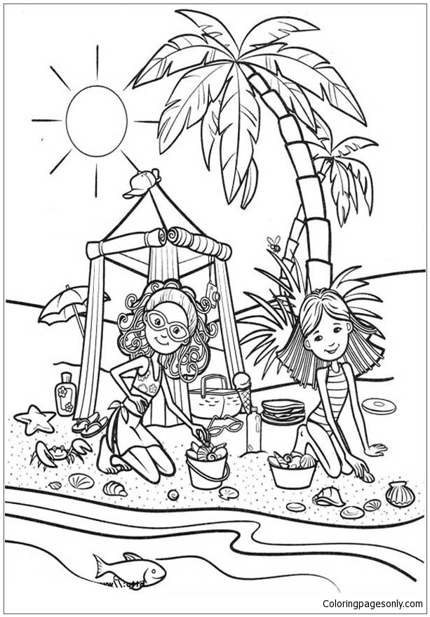 Groovy Girls Playing Sand Castle At Beach Coloring Page
