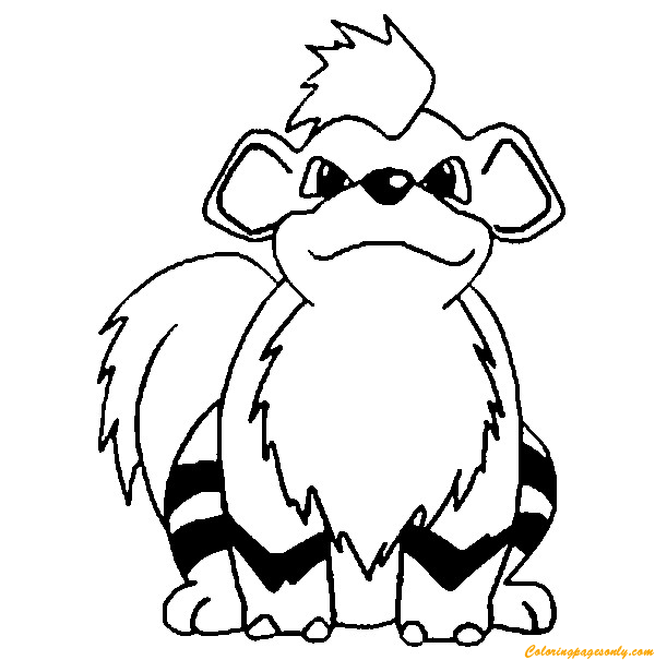 It is a graphic of Comprehensive Growlithe Coloring Page