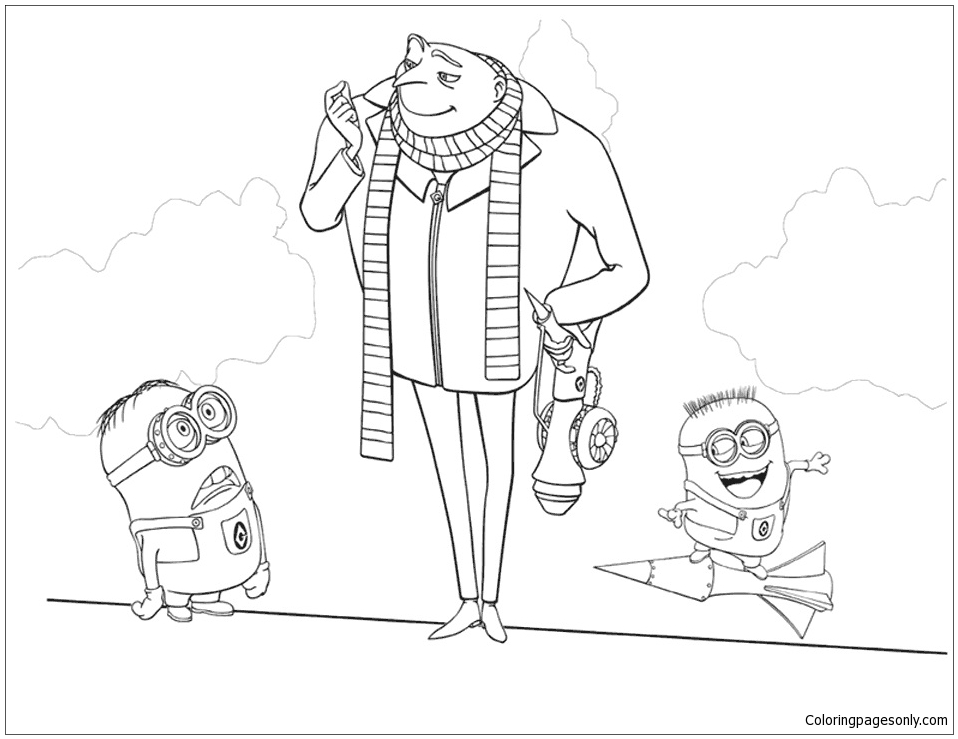 Gru And His Minions Coloring Page