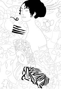 Gustav Klimt Lady With Fan Jim Coloring Page
