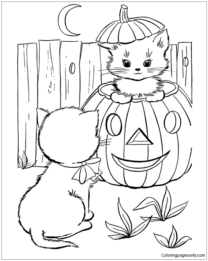 Halloween Cat Coloring Page - Free Coloring Pages Online