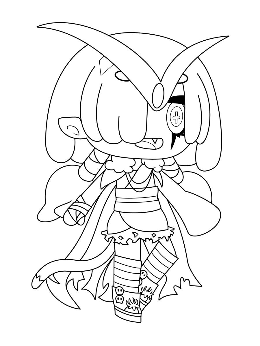 Halloween custume in Gacha Life Coloring Page