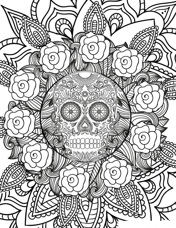 Halloween Sugar Skull Flowers Coloring Page