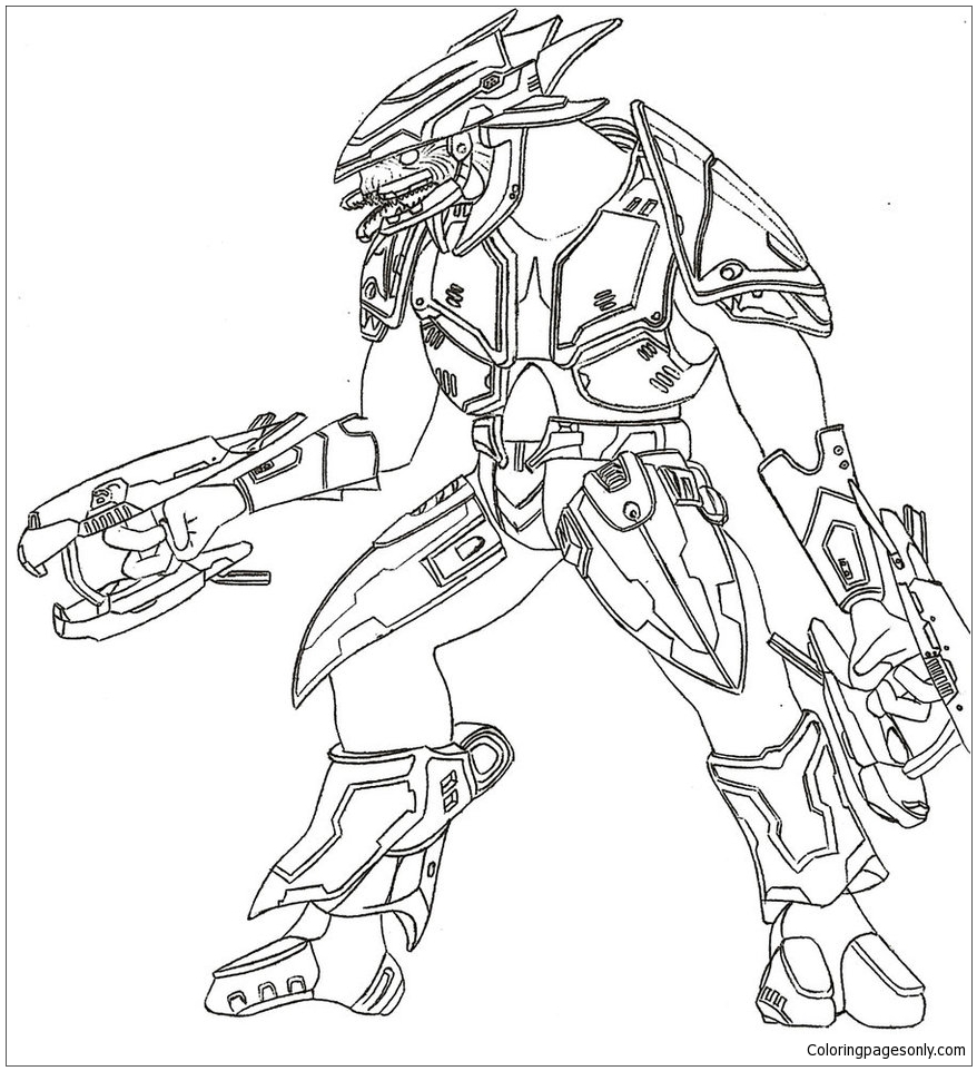 Halo 3 Elite Coloring Page - Free Coloring Pages Online