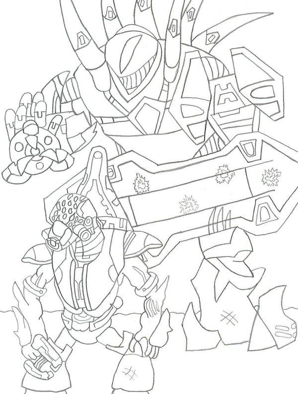 Halo 3 Fighting Coloring Page