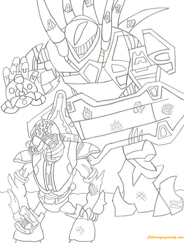 Halo 3 Fighting Coloring Page - Free Coloring Pages Online