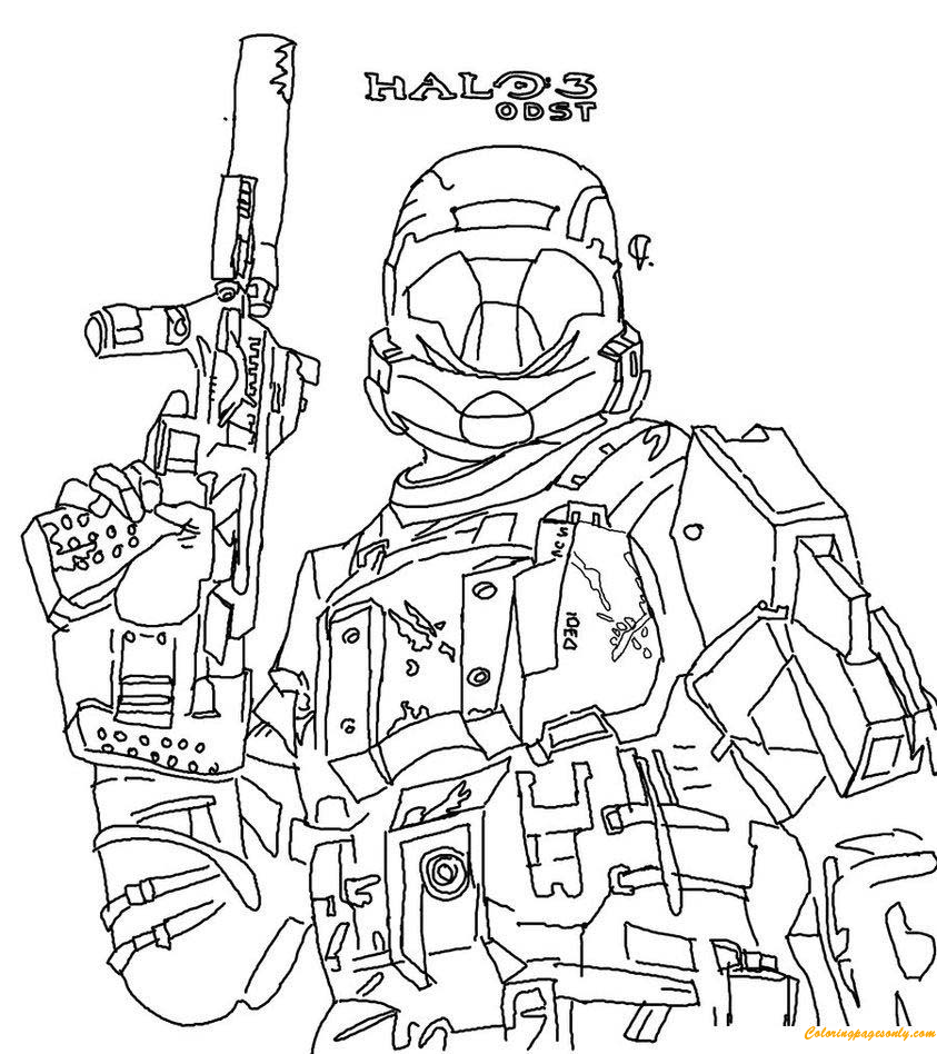 Halo 3 ODST Fighting Coloring Page - Free Coloring Pages ...