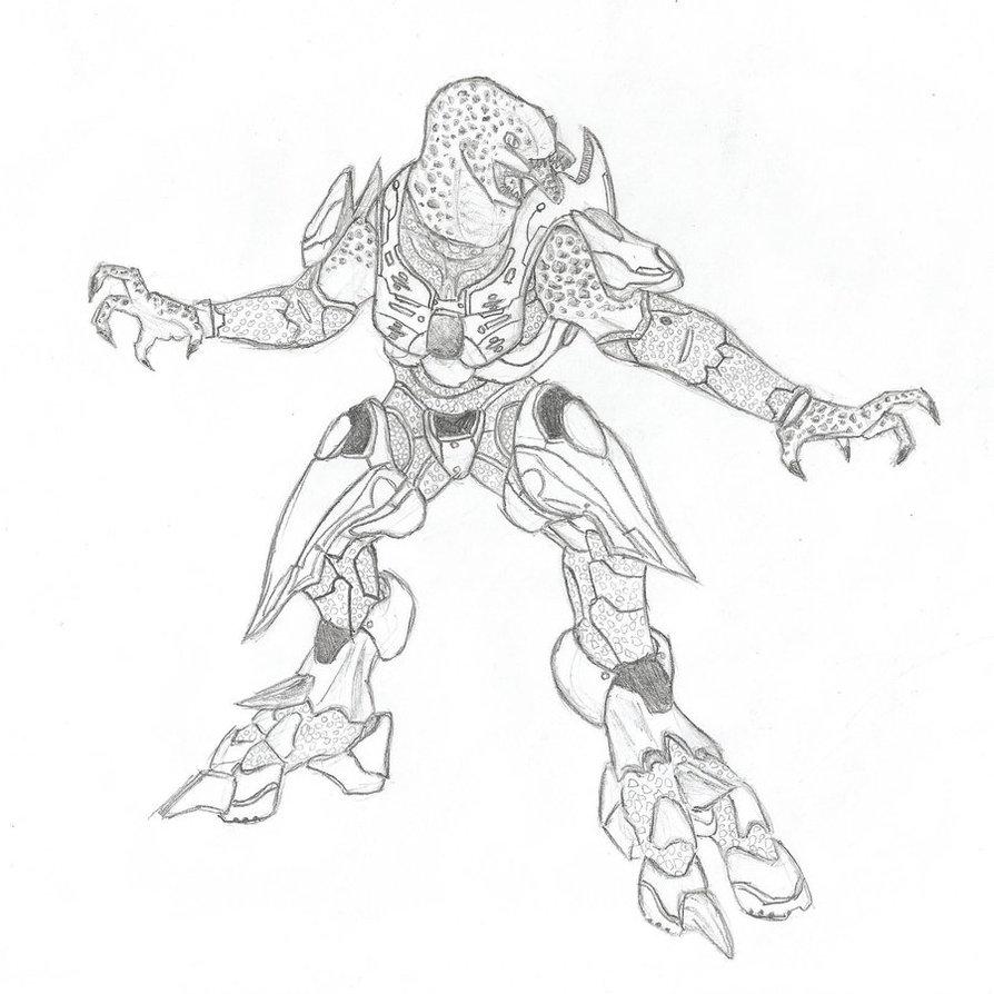 Halo 4 Elite Coloring Page