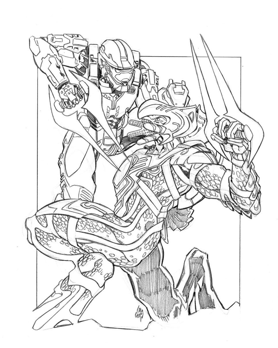 Halo Fighting With The Enemy Coloring Page