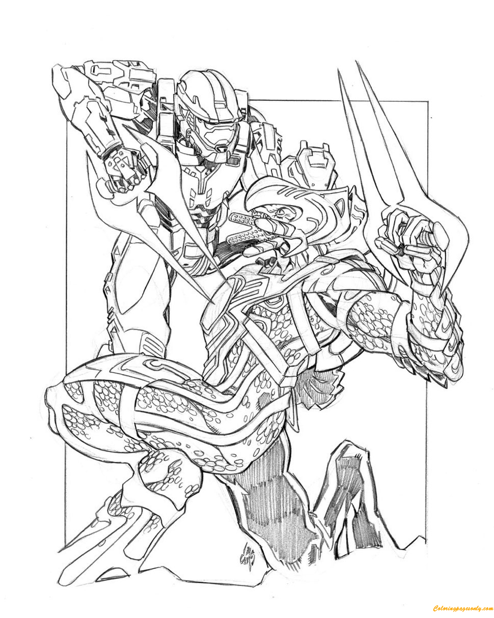 halo printing coloring pages | Halo Fighting With The Enemy Coloring Page - Free Coloring ...