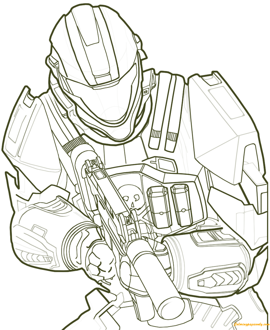 Halo Fighting Coloring Page Free