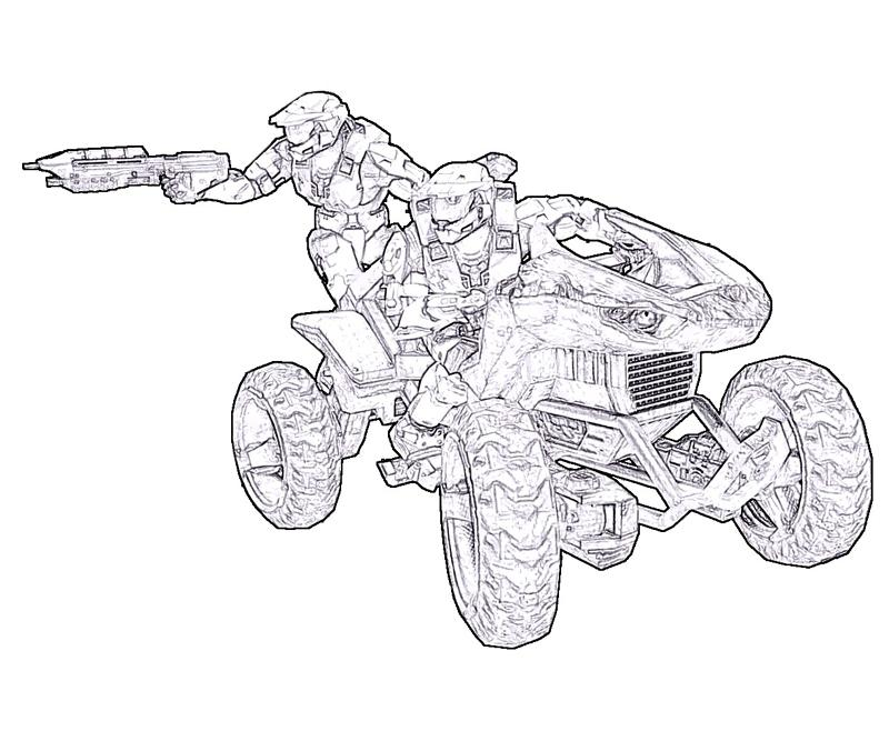Halo Master Chief Driving Coloring Page