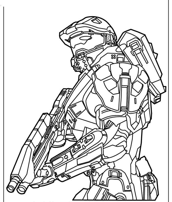 Halo with gun Coloring Page