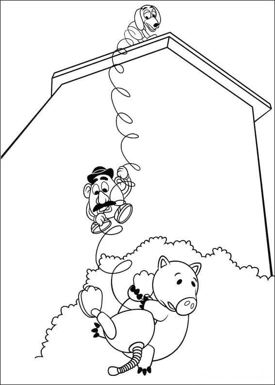 Hamm, Mr.Potato Head and Slinky dog Coloring Pages