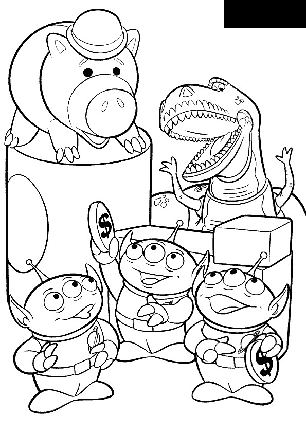 Hamm, Rex and Aliens Coloring Page