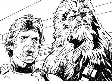 Han Solo and Chewbacca 1 Coloring Page