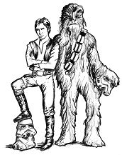 Han Solo and Chewbacca 3 Coloring Page