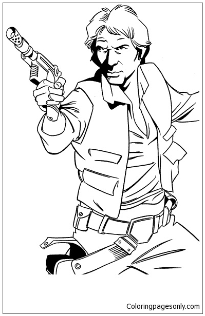 Han Solo Captain Of The Millenium Falcon Coloring Page