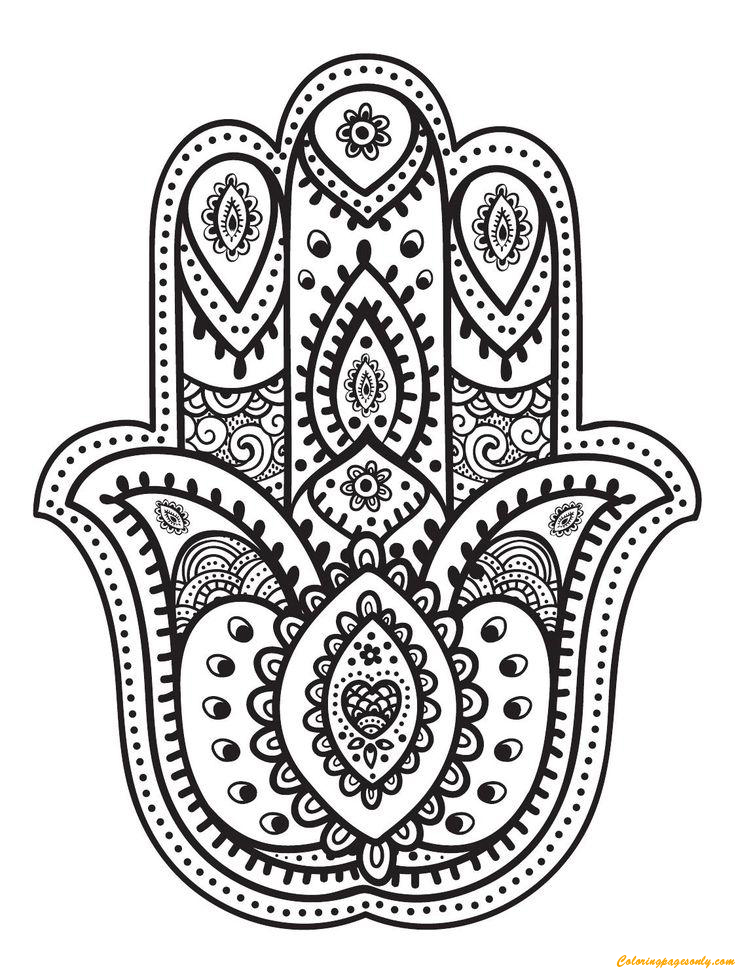 Hand Of Fatima Coloring Page Free Coloring Pages Online