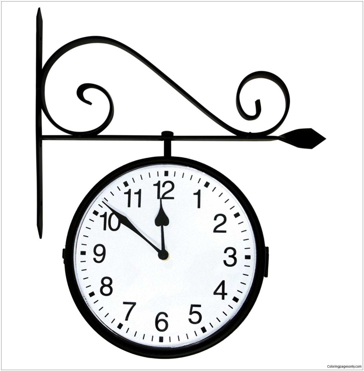 Hanging Clock Coloring Page - Free Coloring Pages Online