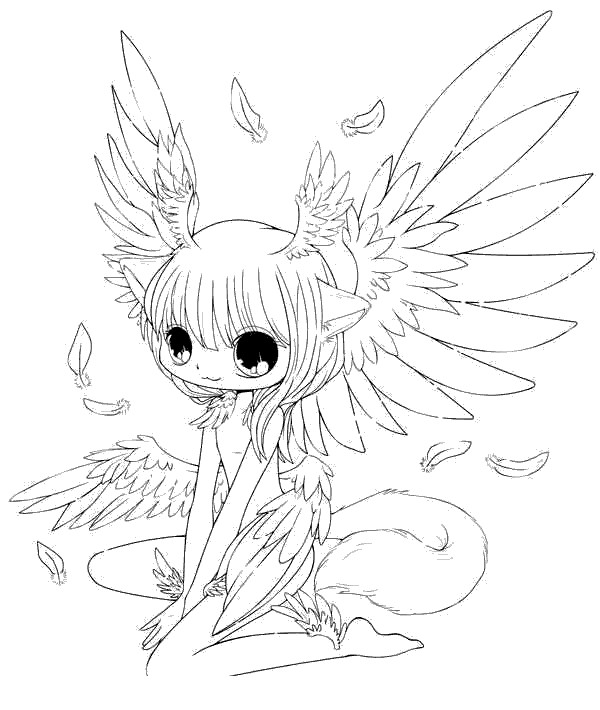 Happy angel cat girl Coloring Page