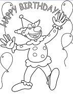 Happy Birthday Clown Coloring Page