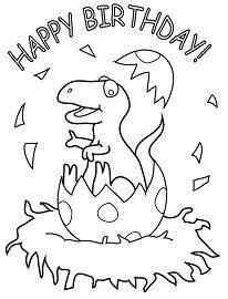 Happy Birthday Dinosaur Coloring Page