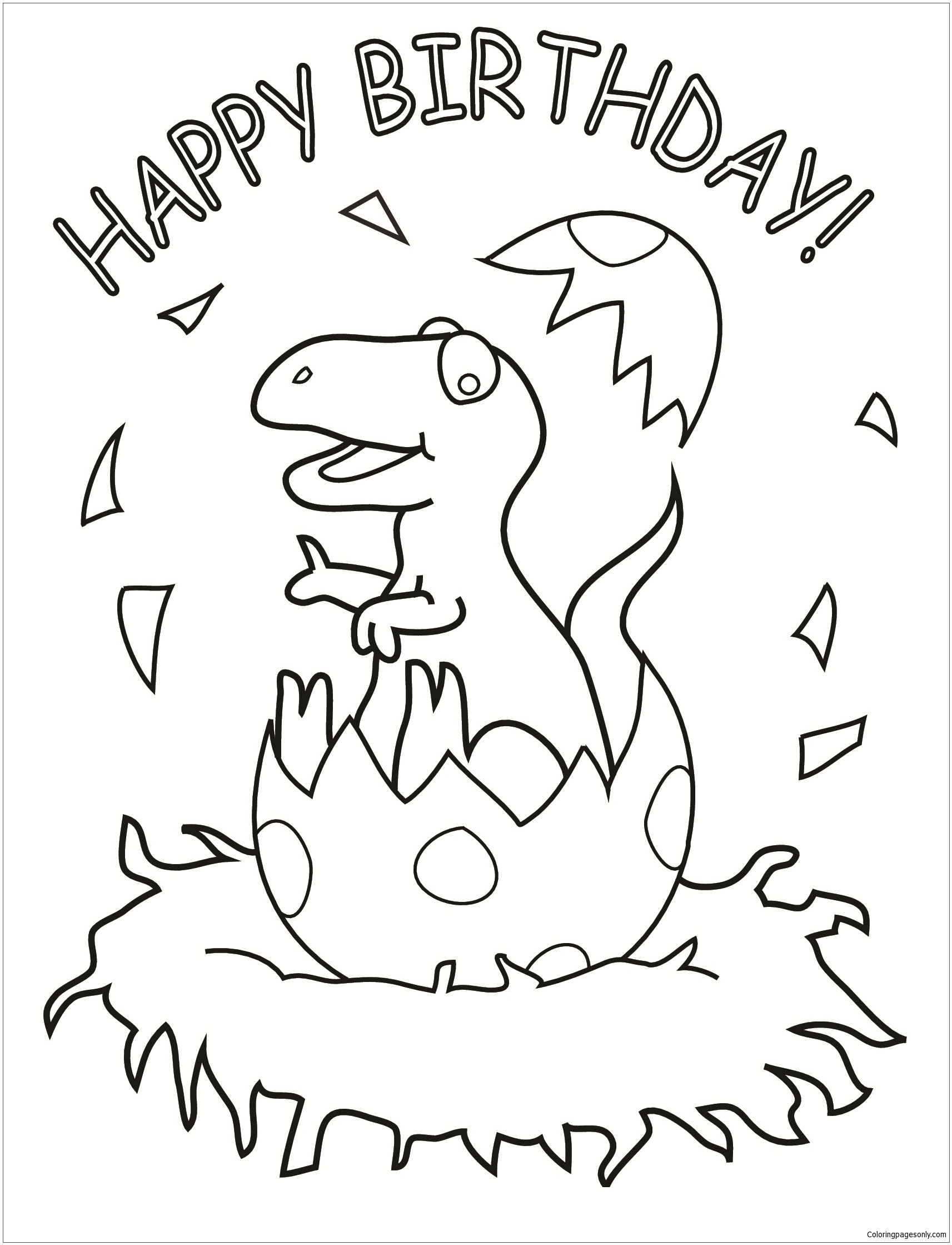 Happy Birthday Dinosaur Coloring Pages Happy Birthday Coloring Pages Free Printable Coloring Pages Online