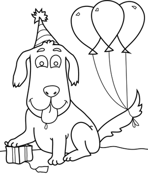 Happy Birthday Dog Coloring Page