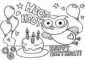 Happy Birthday Elegant Coloring Page