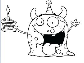 Happy Birthday Funny Coloring Page