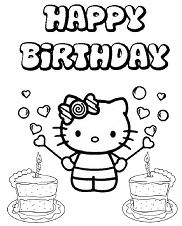 Happy Birthday Hello Kitty 2 Coloring Page