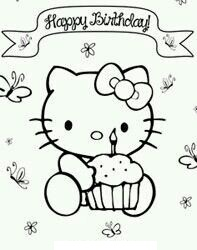 Happy Birthday Hello Kitty 3 Coloring Page
