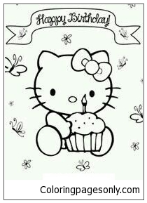 Happy Birthday Hello Kitty 3 Coloring Pages