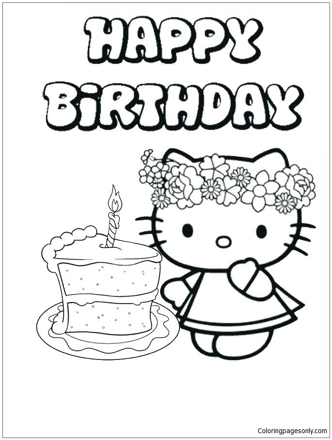 Happy Birthday Hello Kitty 4 Coloring Page - Free Coloring ...