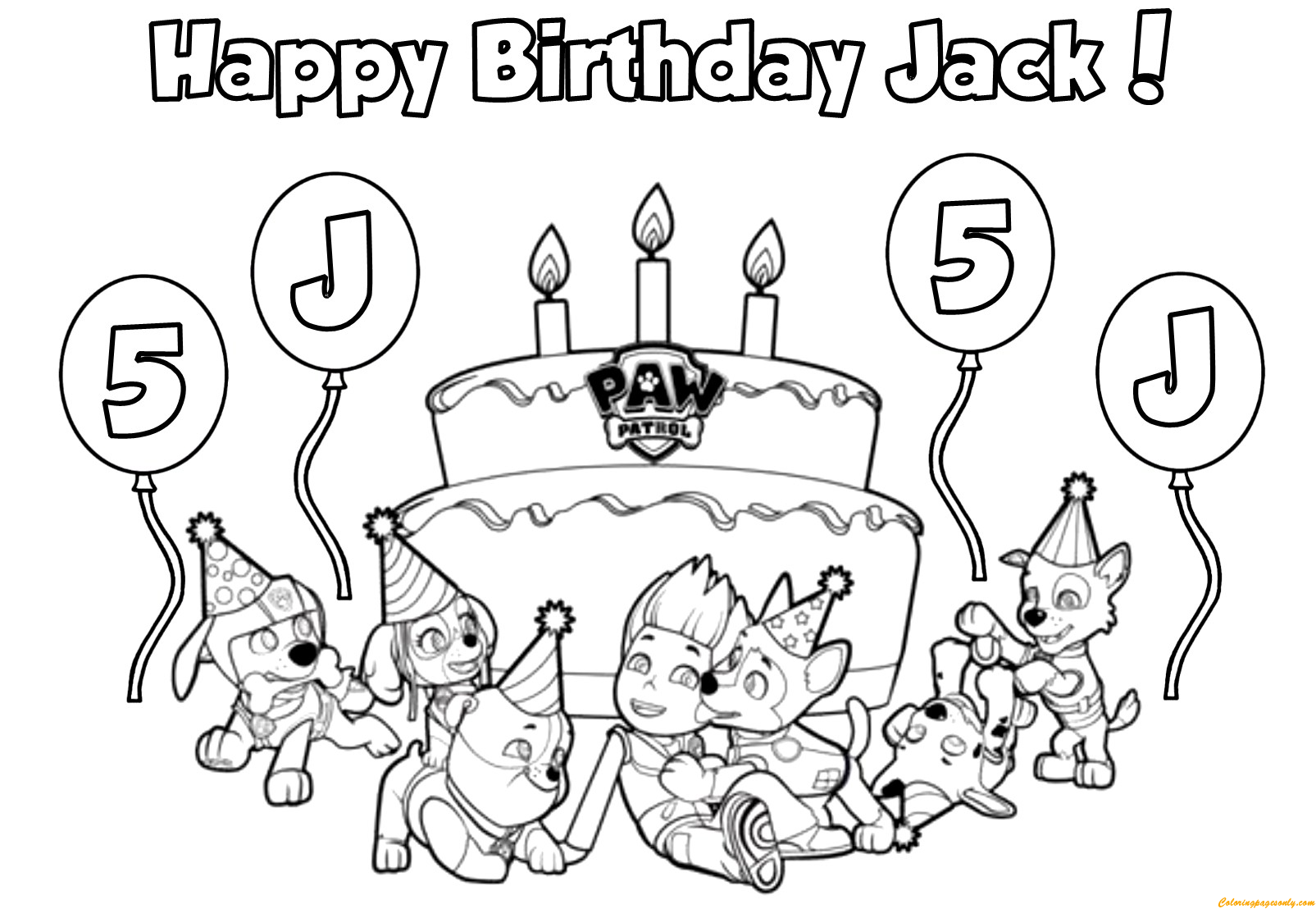 Happy Birthday Jack Coloring Page