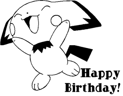 Happy Birthday Pichu Coloring Page