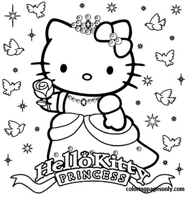Happy Birthday Princess Hello Kitty Coloring Page